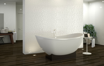 Blanco Brillo 33,3 x 100 cm. Prisma Blanco Brillo 33,3 x 100 cm. Pavimento Rialto Praline 20 x 114 cm.
