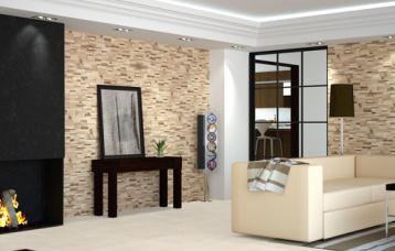 Brick Lasha Sand 17,5 x 50 cm. Pavimento Concrete Bone 44,7 x 44,7 cm.