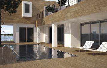 Ambiente realizado con Pasadena Roble 20 x 114 cm.