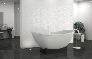 Blanco Brillo 33,3 x 100 cm. Prisma Blanco Brillo 33,3 x 100 cm. Pavimento Newtron Antracite 20 x 114 cm.