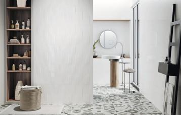 Blanco Brillo 40x120 cm. Blanco Brillo relieve Twine 40x120 cm. Pavimento Hidraulico Krabi.