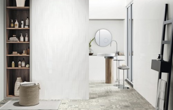 Blanco Brillo 40x120 cm. Blanco Brillo relieve Twine 40x120 cm. Pavimento Hidraulico Krabi Perla