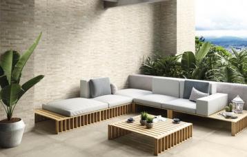 Brick Cement Summer Mix 30x60 cm. Pavimento Grafton Ivory 80x80 cm.