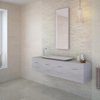 Concrete Pearl 20 x 50 cm. Decor Louvre Concrete Grey 20 x 50 cm. Pavimento Concrete Grey 44,7 x 44,7 cm.